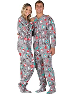 6e38a31c5620 Amazon.com  Footed Pajamas - Holly Jolly Christmas Adult Hoodie ...