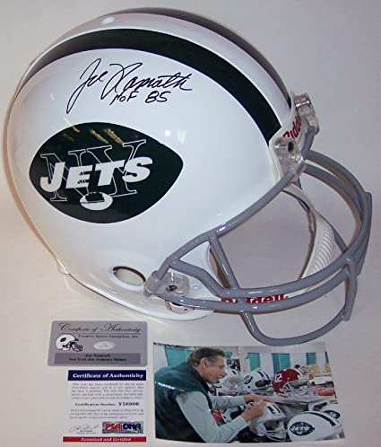 9276987f71a Joe Namath Autographed Hand Signed NY New York Jets Throwback Full Size  Authentic Football Helmet -