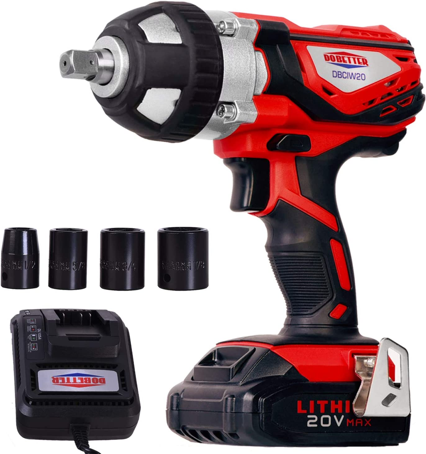 """Cordless Impact Wrench 1/2"""" Max Torque 300N.m Compact Battery Impact Wrench with 4Pcs Sockets"""