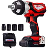 "Cordless Impact Wrench 1/2"" Max Torque 300N.m Compact Battery Impact Wrench with 4Pcs Sockets, 1.5A Li-ion Battery and…"