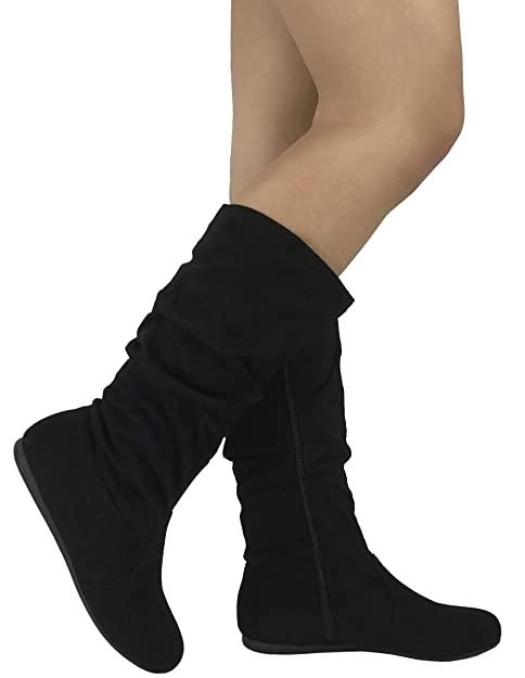 0f5d466fc00ee Wells Collection Womens & Girls Slouchy Wonda Boots Soft Flat to Low Heel  Under Knee High