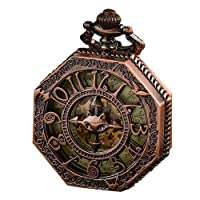 ALPS Pocket Watch, Classical Gift, Steampunk Skeleton Mechanical Automatic Hand Wind Pocket Watch (Rose Gold),Best Christmas Gift