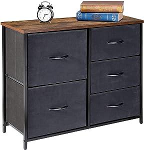 Kamiler 5-Drawers Dresser, Storage Cabinet, Organizer Tower Unit for Bedroom, Living Room, Hallway, Closet, Office,Steel Frame, Wood Top,Fabric Bins (Rustic Brown)