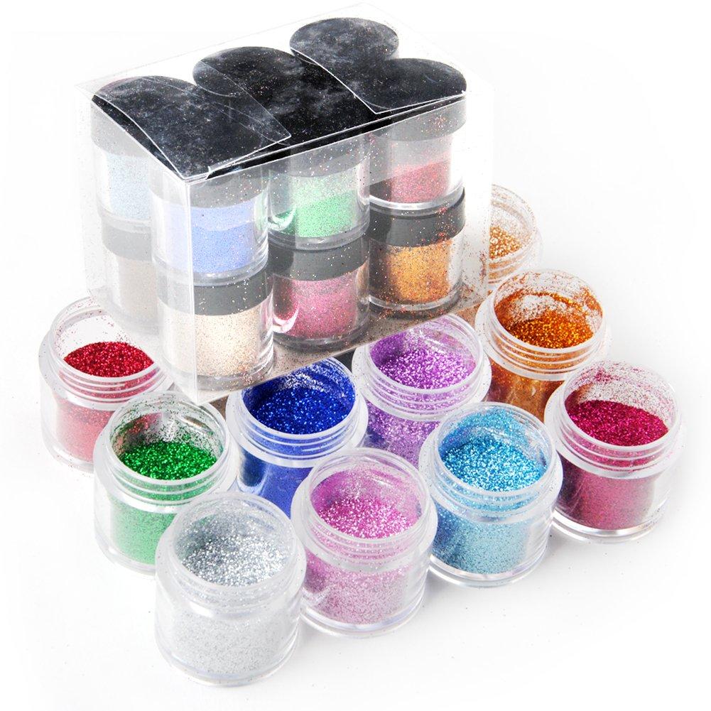 Coscelia 12 Color Jumbo Size Shiny Glitter Nail Art Tool Kit Acrylic UV Powder Dust by Coscelia (#1)