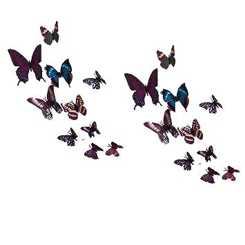 Violett Wandtattoo Schmetterling 3D Wandbilder Wandsticker ...