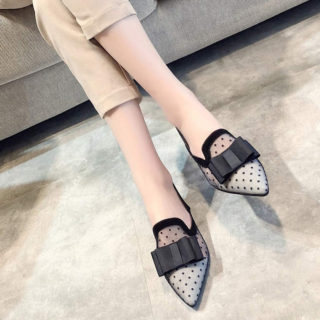 Womens Mesh Lace Slingback Single Shoes Comfy Pointed Toe Bow Sticker Strap Transparent Hollow Low Heel Sandal Casual Shoes