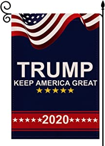 YaoChong Donald Trump 2020 Keep America Great Garden Flag Double Sided Premium Fabric,US Election Patriotic Outdoor Decoration Banner for Garden Yard Lawn 12.5 x 18 inch