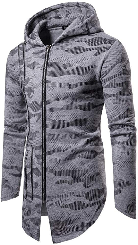 Alalaso Mens Camouflage Hooded Zipper Coat Jacket Cardigan Long Sleeve Outwear Blouse