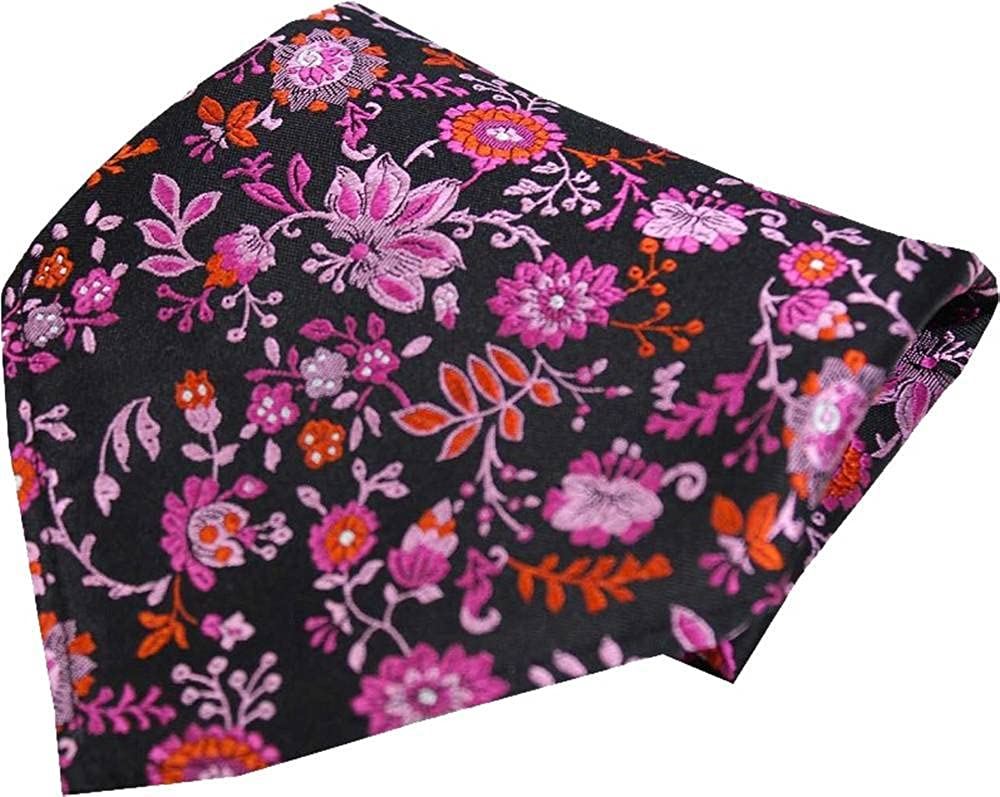 Black//Pink Posh and Dandy Mens Floral Luxury Silk Pocket Square