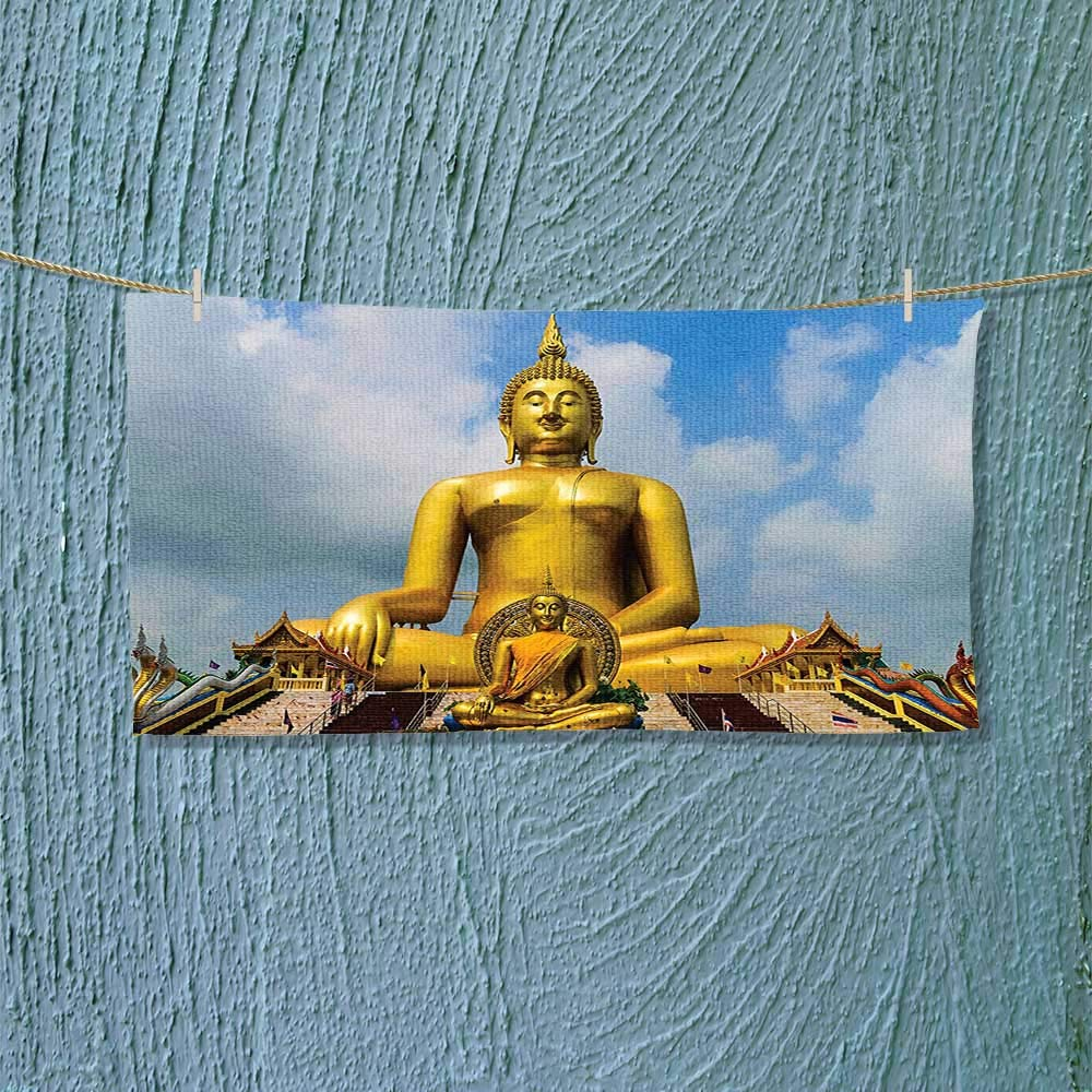 Nalahome Microfiber Towel The Biggest Golden Indian Statue at The Temple in Thai Oriental Sage Asian High Absorbency L27.5 x W11.8 inch by Nalahome