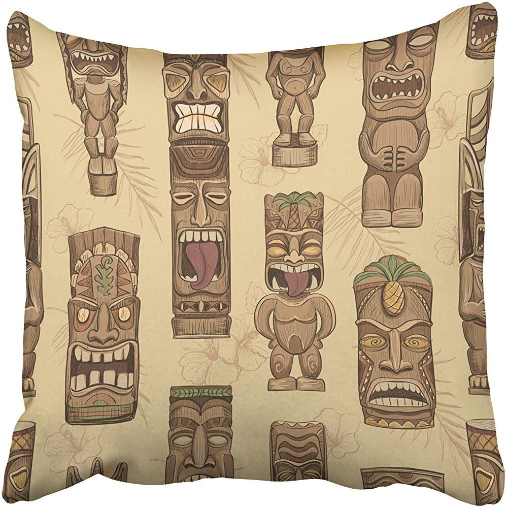 Starocle Decorative Throw Pillow Case Cushion Cover Brown Bar Collection of Wooden Tiki Idols Hawaii Mask Luau Tattoo Tropical Aloha 18x18 Inch Cases Square Pillowcases Covers Two Sides Print