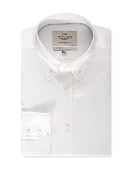 8dc1a4f42d91 HAWES & CURTIS Mens Long Sleeve Formal Blue Fine Twill Slim Fit Shirt -  Button Down - Single Cuff - Easy Iron: Amazon.co.uk: Clothing