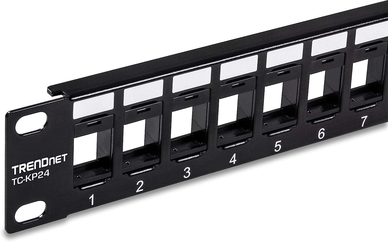 "TRENDnet 24-Port Blank Keystone 1U Patch Panel, TC-KP24, 1U 19"" Metal Rackmount Housing, Recommended w/TC-K25C6 & TC-K50C6 Cat6 Keystone Jacks (Sold Separately)"