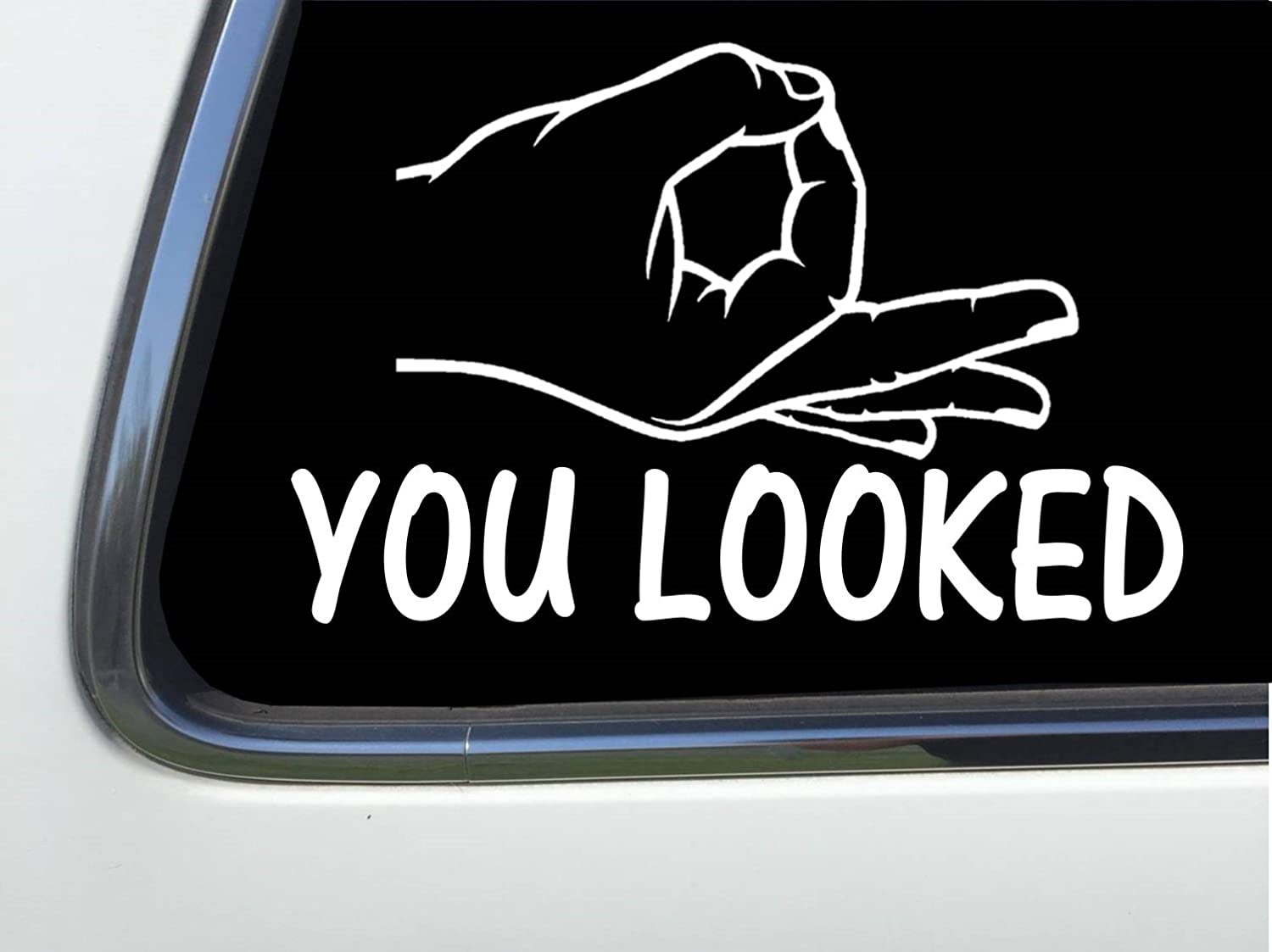 Amazon com thatlilcabin circle game hand you looked 6 vinyl sticker decal as1277 automotive