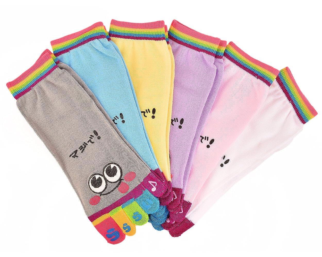 Shopready Toe Socks 6 Pairs of Cartoon Five Fingers Socks Yoga Socks for Women Girls