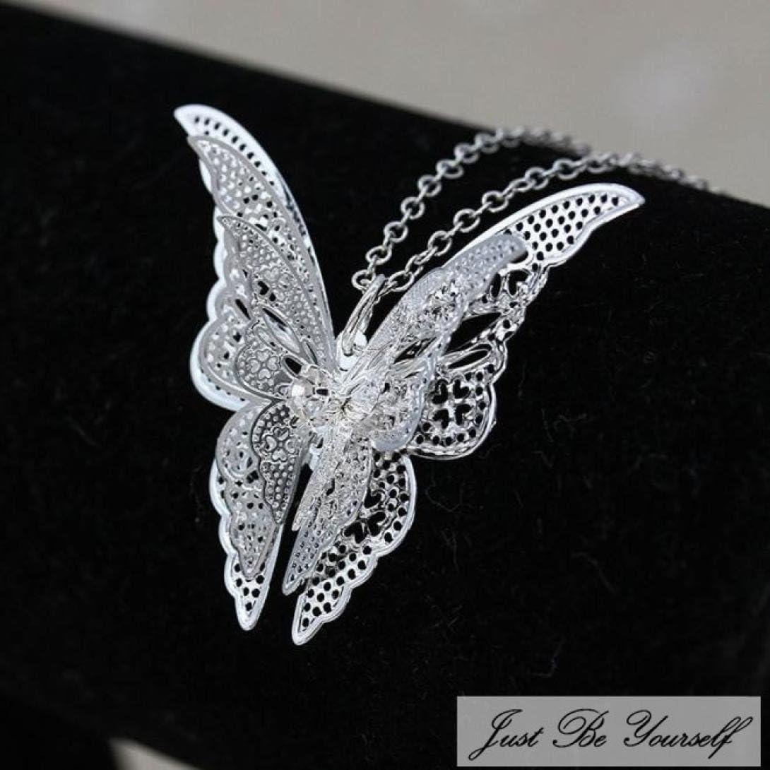 1 cadena con mariposas collar cuello joyas de acero inoxidable Butterfly chica
