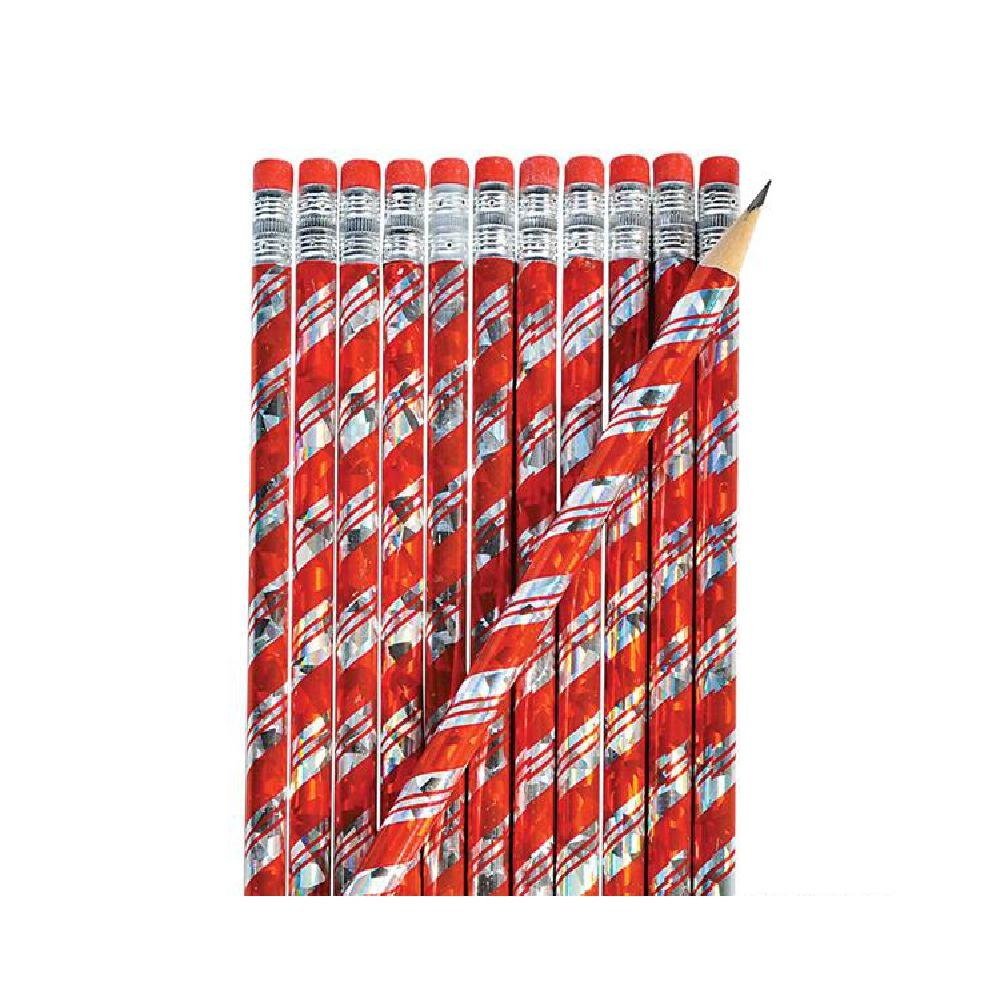 7.5'' Candy Cane Prism Pencil (24Pc/Un) (With Sticky Notes)