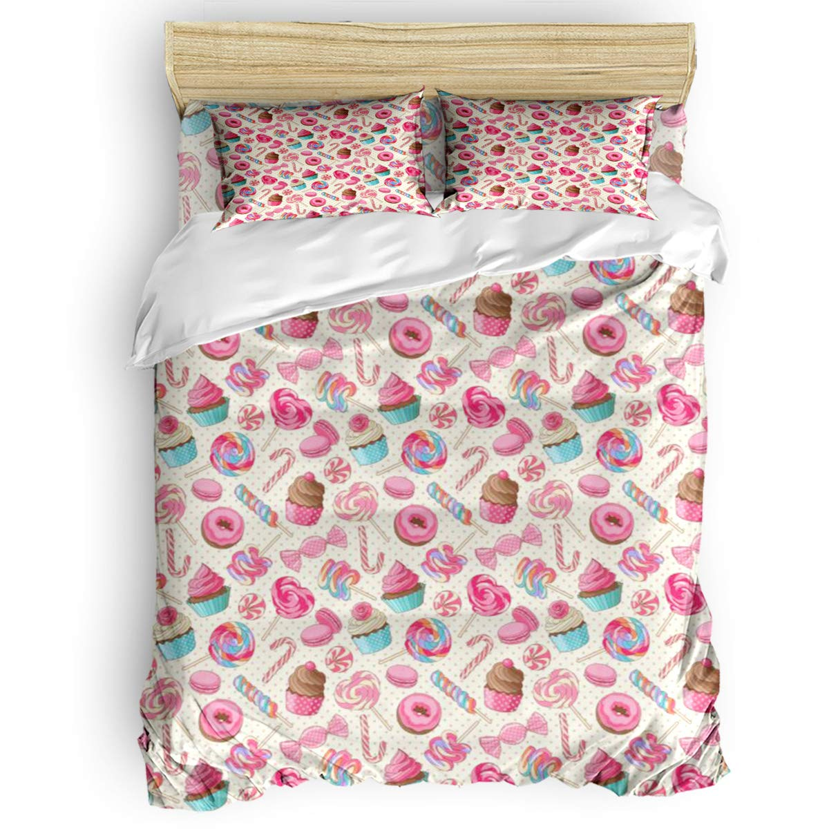 Candy Cane Bedding Duvet Cover 4 Piece Set, Yummy Sweet Lollipop Candy Macaroon Cupcake and Donut on Polka Dots Pattern, Hypoallergenic Microfiber Comforter Cover Bedspread and 2 Pillow Cases - Twin by Family Decor
