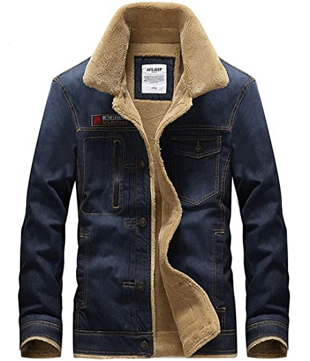 Menu0027s Fur Lined Sherpa Denim Jacket with Spread Shearling Colla Dark Blue M