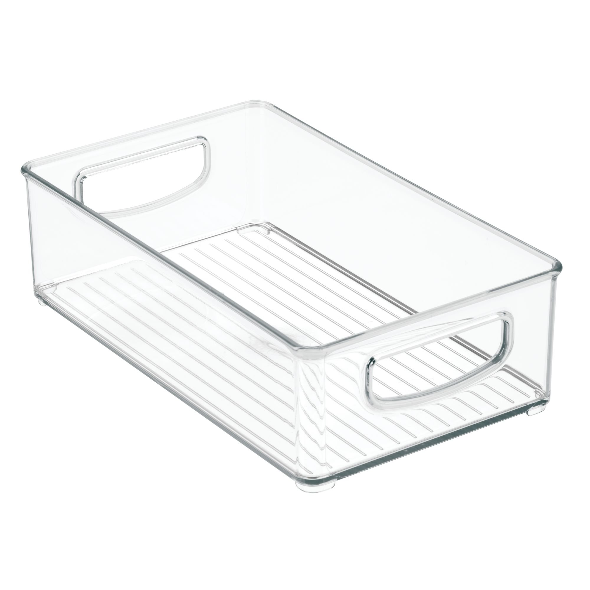 mDesign Stackable Storage Organizer Bin Tray with Built-in Handles - Holds Vitamins, Supplements, Serums, Essential Oils, Medical Supplies, First Aid Supplies - 3'' High - Pack of 2, Clear by mDesign (Image #7)