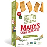 Mary's Gone Crackers Real Thin Crackers, Made with Real Organic Whole Ingredients, Gluten Free, Garlic Rosemary, 5 Ounce (Pac