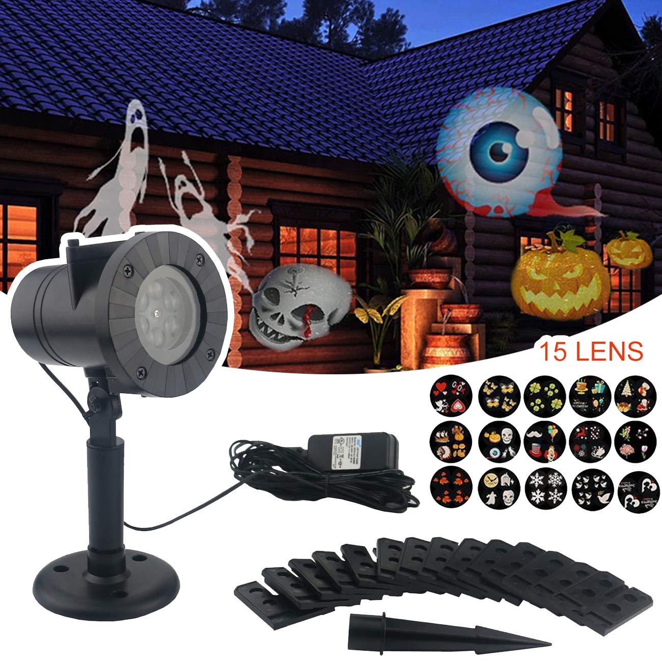 Sunnyglade Halloween Projector Lights with 15 Slides Outdoor and Indoor Landscape Motion LED Projection Lights with 16.4ft Power Cable for Decoration Lighting on Xmas Holiday Birthday Wedding Party