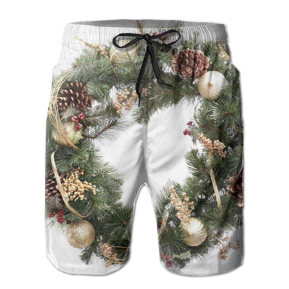 Cute Christmas Wreath Mens Beach Shorts Linen Casual Fit Short Swim Trunks