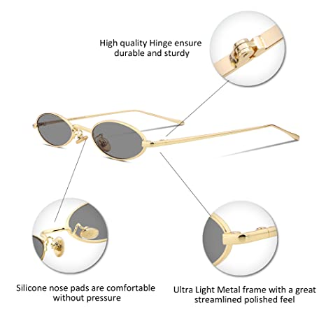 5d3ffdf239e Amazon.com  FEISEDY Vintage Slender Oval Sunglasses Small Metal Frame Candy  Colors B2277  Clothing