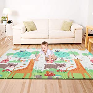 Bammax Play Mat, Folding Mat Baby Crawling Mat Kids Playmat Waterproof Non Toxic for Babies, Infants, Toddlers