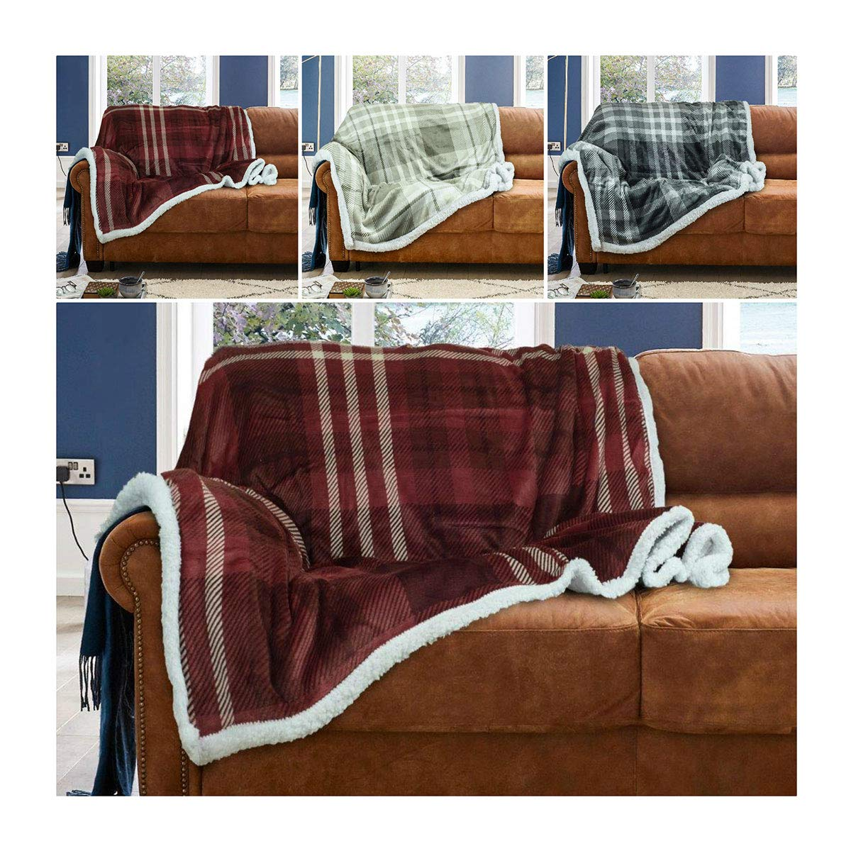 Sherpa Throws Blanket Wiltshire Flannel Fleece Luxury Sofa Bed Large Soft Warm