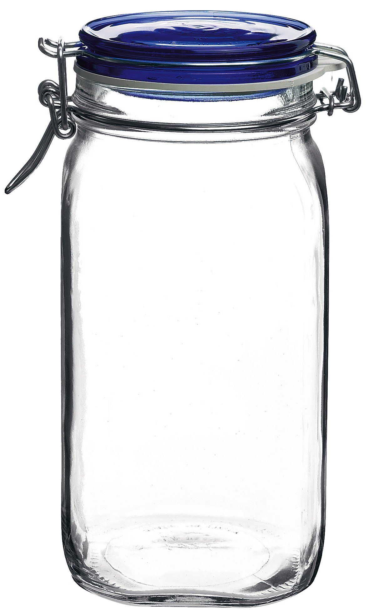 Bormioli Rocco Fido Square Jar with Blue Lid, 50-3/4-Ounce