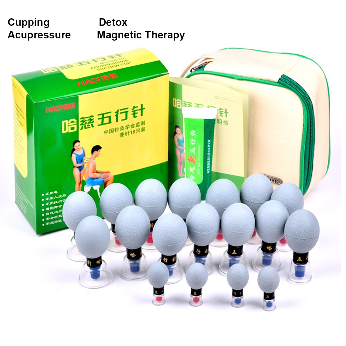 18 Cups Household Cupping Vacuum Suction Haci Magnetic Therapy Acupressure Cup TCM Acupuncture and Moxibustion Cupping Set Health Care (18) by Wanerone