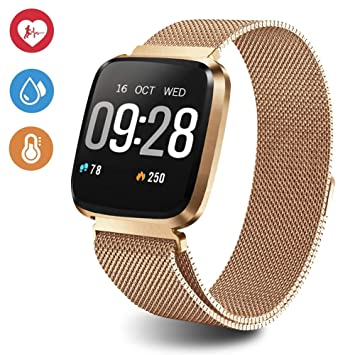 Amazon.com: Reloj inteligente de rastreador de fitness de 1 ...