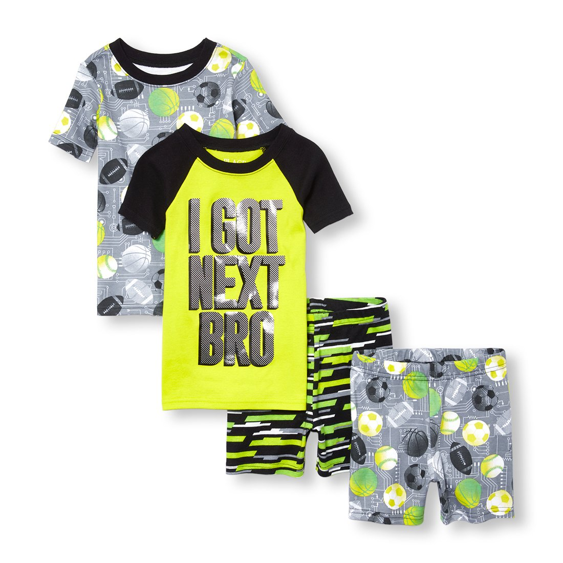 The Children's Place Big Boys' Top and Shorts 4 Piece Pajama Set
