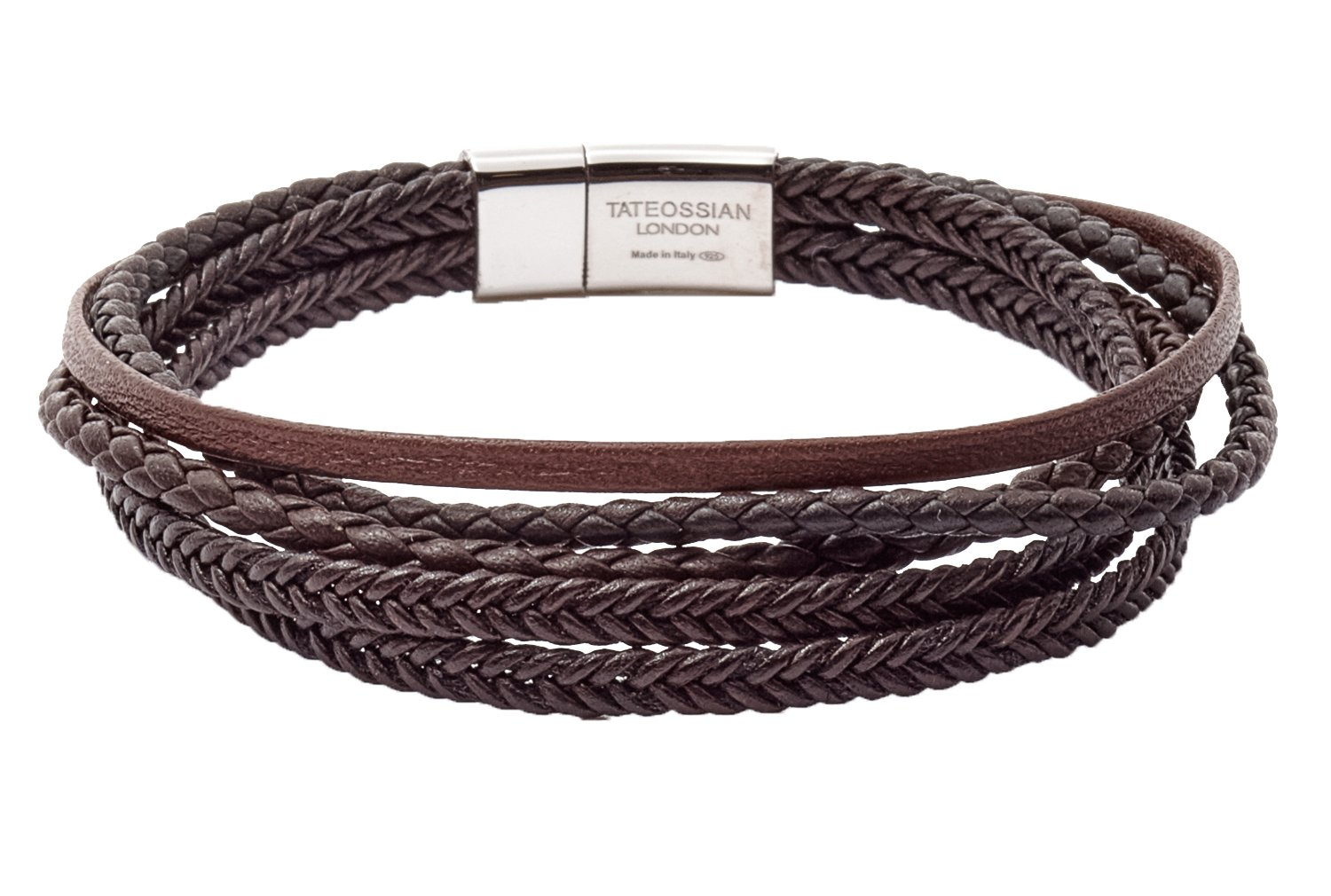 Tateossian Cobra Italian Leather Multi Strand Bracelet - Brown, Medium 18cm