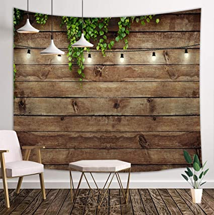 Kotom Vintage Wooden Board Tapestry Green Leaves On Country Wood Rustic Barn Door Deocr