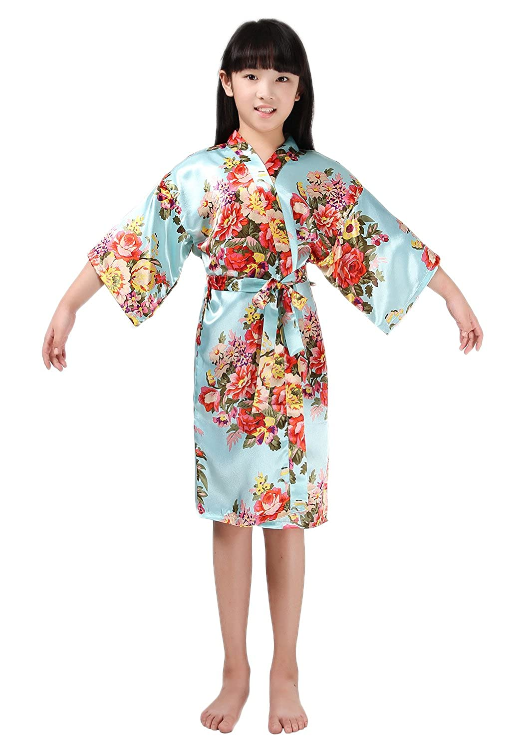 HonourSport Girls Kimono Satin Dressing Gown Floral 3//4 Sleeve Robe Accappatoi Sleepwear Pigiama Lunga Estiva