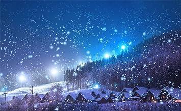 DORCEV 7x5ft Winter Wonderland Backdrop City Street Snow Road Glittering Bokeh Photography Background Christmas Party Supplies Banner Kids Adults Portraits Photo Shoot Studio Props