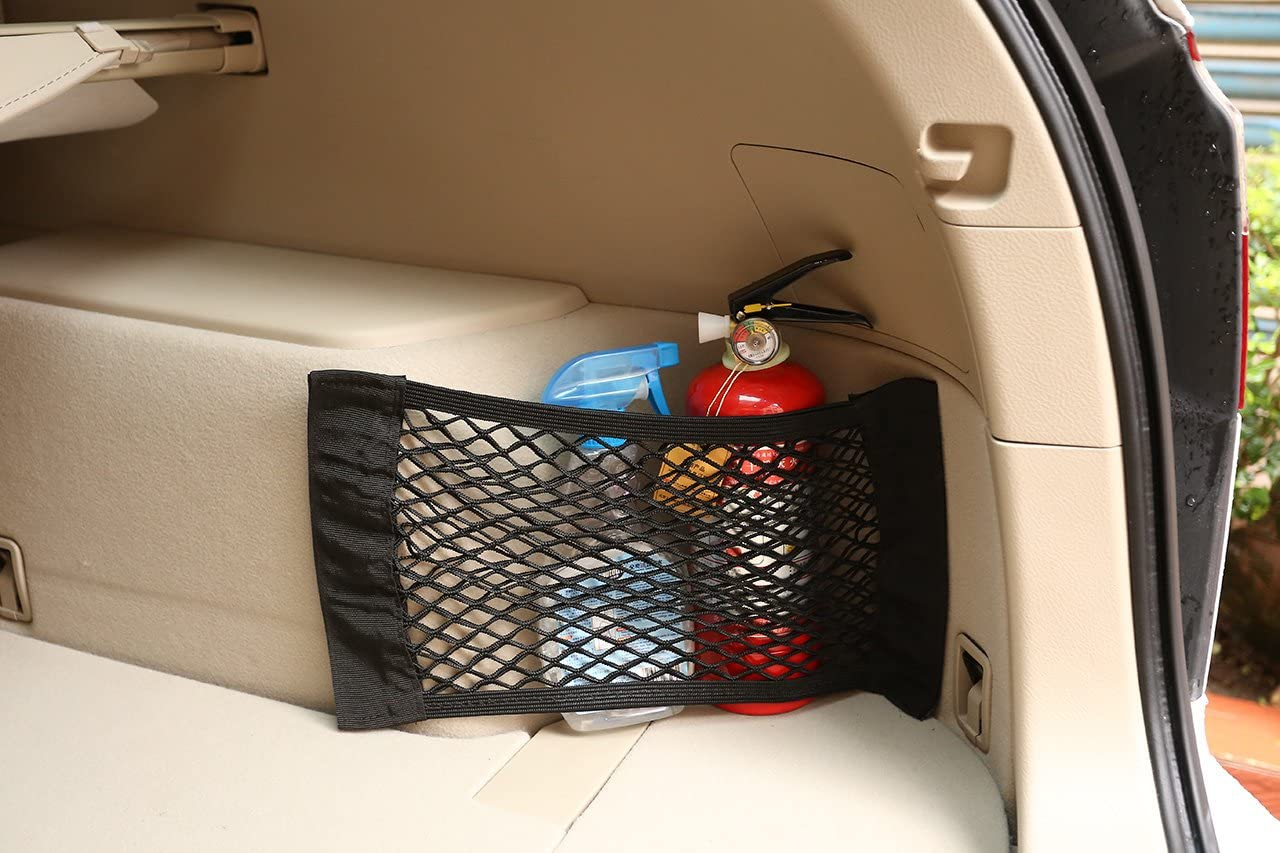 Acbungji 2 Stück Auto Kofferraum Universal Netztasche Universal Netztasche Mit Klettverschluss Autositz Kofferraumnetz Kofferraum Netz Organizer Handy Kind Spielzeugdung Schutznetz Set 1 Auto