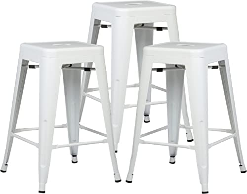 Poly and Bark Trattoria 24 Counter Height Stool in White Set of 3