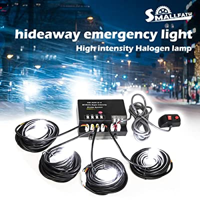 SmallFatW 4 HID 80W Hide-a-way Bulbs Emergency Hazard Warning Headlight Truck Strobe Light Kit System (White): Automotive