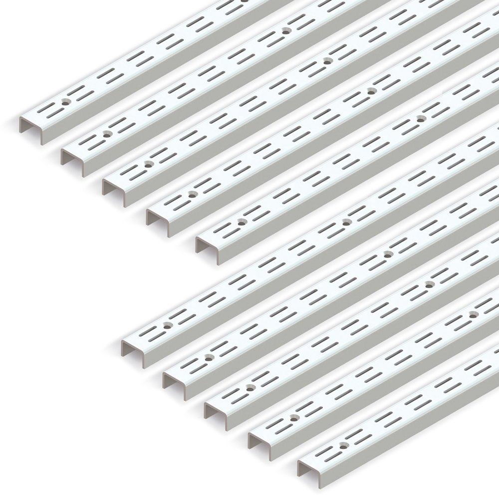 Emuca 7909012 Escuadras de estante para perfil cremallera perforaci/ón doble paso 32mm 470mm Blanco Set de 20 piezas