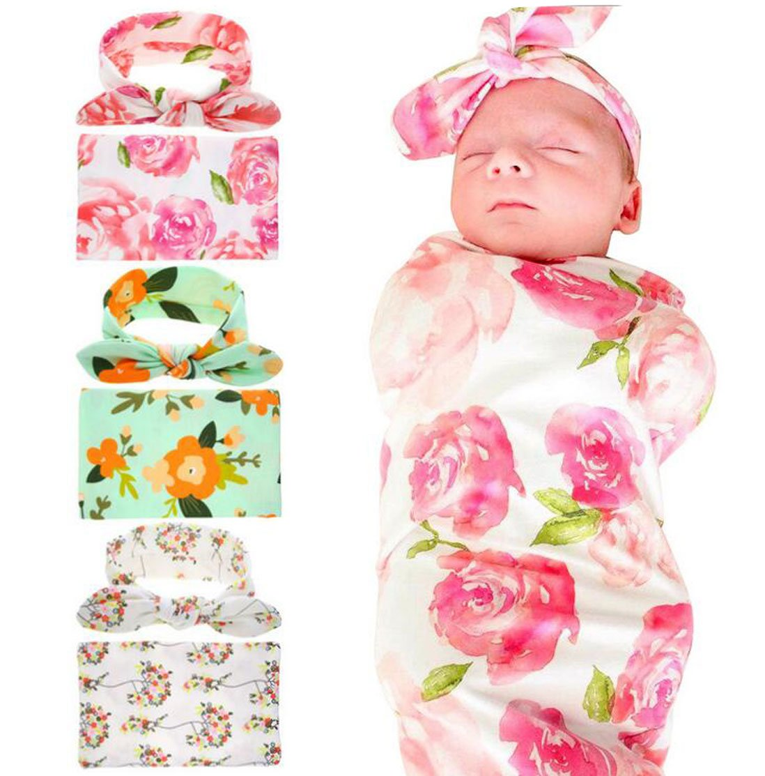 Lucky Staryuan 3 Set New Baby Girl Flower Printing Headband Wrapped Towel Set (Baby Gifts) by Luckystaryuan