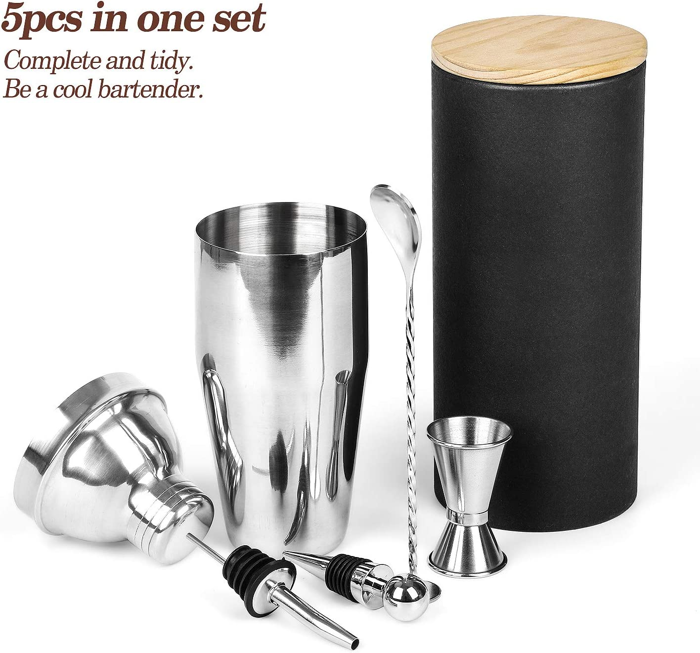 Cocktail Shaker Set Stainless Steel, 5-Piece Bartender Kit with wood bottle container, Perfect Home Bartender kit and Cocktail Shaker Set For an Awesome Drinking Experience, Best Gift Choice.
