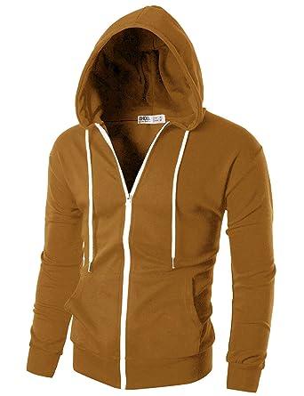 7a5e90fcb22 Ohoo Mens Slim Fit Long Sleeve Lightweight Zip-up Hoodie with Kanga  Pocket DCF002