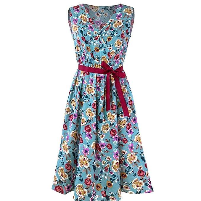Vestido Mujer Verano 2018 Moda Vestido de Fiesta sin Mangas Vendaje del cinturón Vestido de Playa