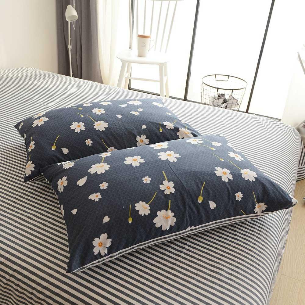 HIGHBUY Daisy Print Pillowcases Set of 2 100 Percent Cotton Soft Bedding Pillow Shams(2pcs, 20''×26'') Kids Queen Decorative Flower Pillow Cover,Standard,Envelope Closure