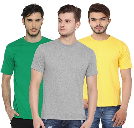 6587f43524b First Row Men s Basic Cotton Round Neck Half Sleeve Solid T-Shirts - Pack of