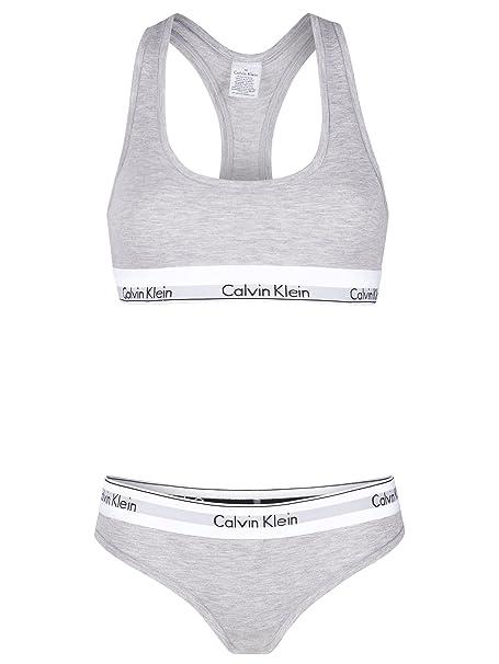 Calvin Klein Modern Cotton - Conjunto de lencería - para mujer gris S