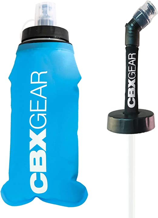 CBX GEAR Botella de Agua Deportiva con pajilla 500ml Azul Soft Flask para Correr, Running, Senderismo, Escalada   Blanda, Ligera y Fácil de Llenar y ...